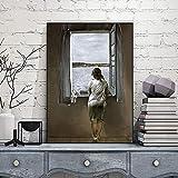 QWESFX Figura Moderna de Pintura al óleo en una Ventana Salvador Dali Lienzo impresión de Arte Pintu...