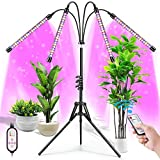 Upgrade 2021 Plant Grow Light with Adjustable Tripod Stand (14'-63'), 4 Head Floor LED Grow Lamp for Indoor Plants with Dual Controllers ,100W Full Spectrum Plant Lights with Timer, 10 Brightness