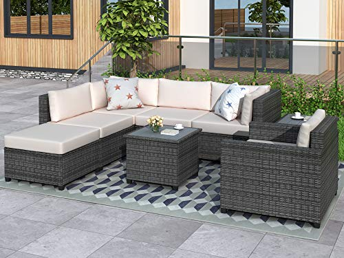 LZ LEISURE ZONE Patio Furniture Sets, 8 Piece Outdoor Patio Conversation Set, All Weather Wicker Rattan Sectional Sofa Sets with Cushions, for Garden/Poolside/Porch (Beige)