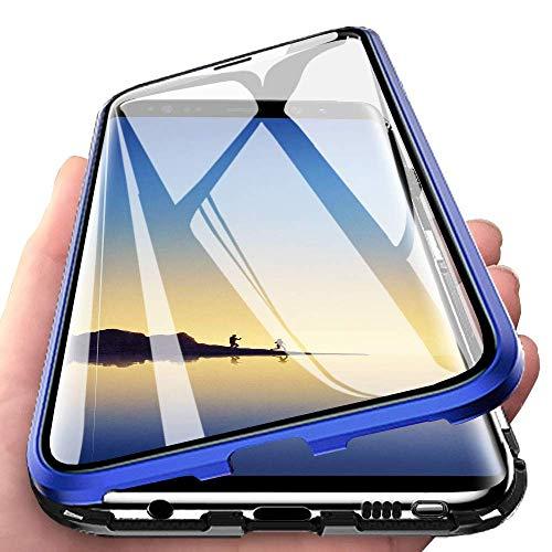 Wishcover Custodia Magnetico per Huawei P20,Huawei P20 Cover 360 Gradi Full Body Trasparente Vetro Temperato+Alluminio Metal Bumper con Adsorbimento Magnetico Copertura Case