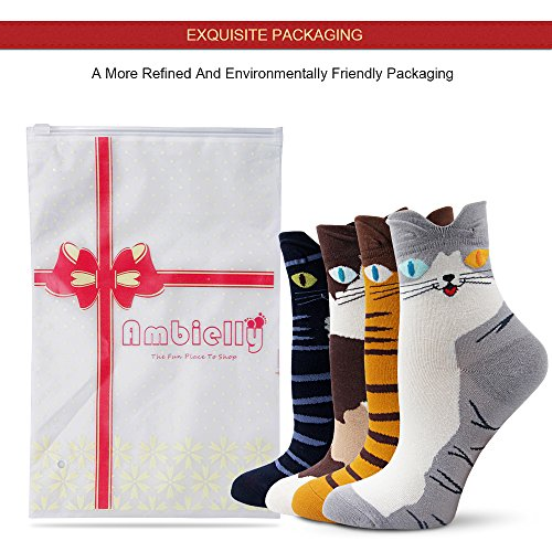 Ambielly Socken aus Baumwolle Thermal Socken Erwachsene Unisex Socken (4 Katzen) - 3