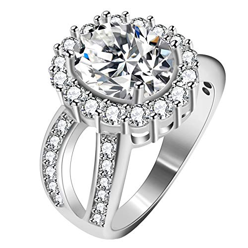 Uloveido Women's Oval Cubic Zirconia Split Shank Ring Wedding Engagement 4 Prongs Halo Setting Silver Color Jewelry J469 (White, Size 7) -  J469-White-7