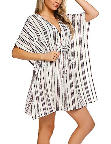 ADOME Women Sexy Tunic Bikini Cover up Oversized Striped Swim Coverup