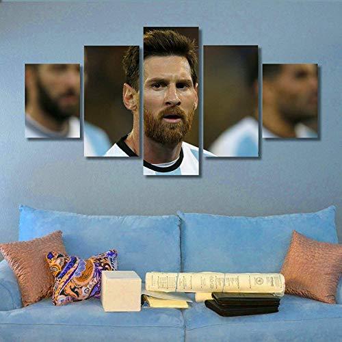 LHKAVE Wanddekoration Messi Plakat Kunstdruck auf Leinwand, 5-teilig, Moderne Malerei, Kunst, Dekoration des Hauses, A, 40x60x2+40x80x2+40x100x1