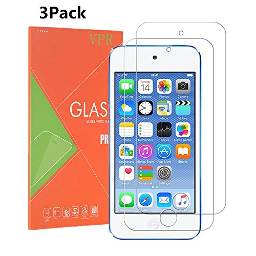 iPod Touch 6 Screen Protector, VPR [3 Pack] Premium Tempered Glass [Ultra-Clarity] [Highly Responsive] [No-Bubble Installation] for iPod Touch 6th, 5th Generation, (3Pack)