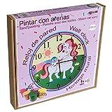 Arenart | Lámina Reloj Unicornio Ø30 cm | para Pintar con Arenas de Colores | Manualidades para Niñas | Dibujo Infantil | Pintar por números | +6 años