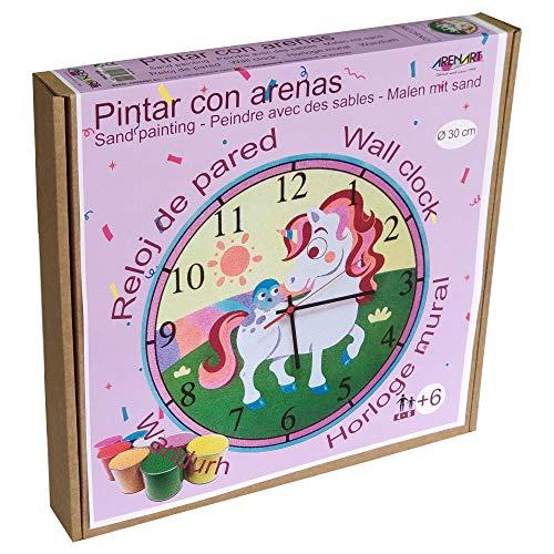 Arenart - Set Pintar con Arenas - Reloj Unicornio Ø 30 cm