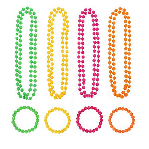 8 Pcs Set of 4 Colors Beads Necklace and Bracelet for 80s Costume