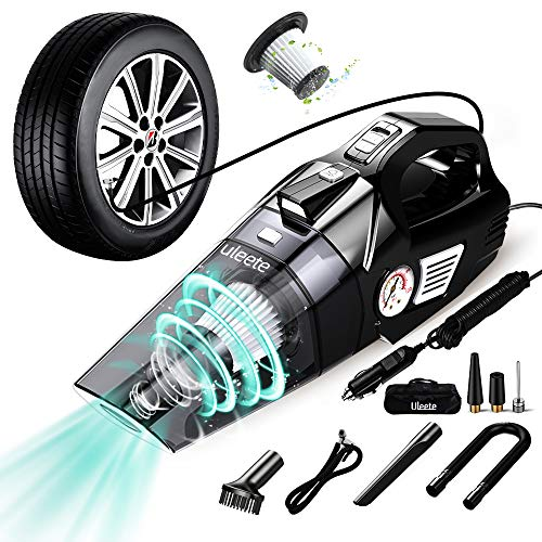 uleete Car Vacuum, 2 in 1 Best Portable Car Vacuum Cleaner with Air Compressor Pump, DC 12V Tire Inflator for Cars, High Power Handheld Car Vacuum with LED Light, Wet/Dry Vacuum for Cars, 14.8FT Cord