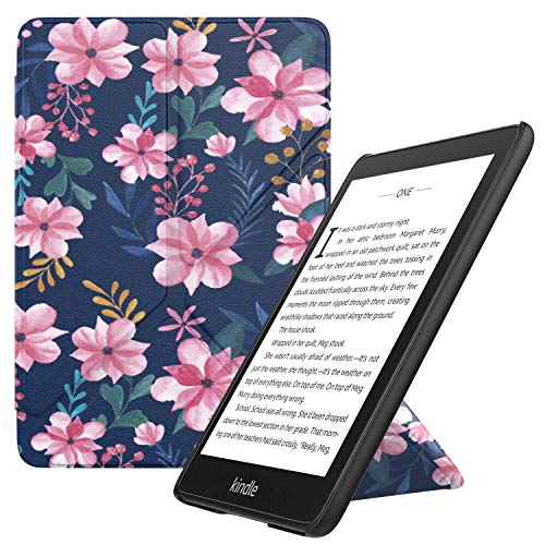 MoKo Hülle Angepasst für Kindle Paperwhite, Origami Ständer Schutzhülle mit Auto Sleep/Wake Geeignet für Kindle Paperwhite (10th Generation, 2018 Releases) - Blau und Rosa Blumen
