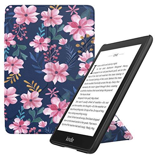 MoKo Hülle Angepasst für Kindle Paperwhite, Origami Ständer Schutzhülle mit Auto Sleep/Wake Geeignet für Kindle Paperwhite (10th Generation, 2018 Releases) - Blau & Rosa Blumen