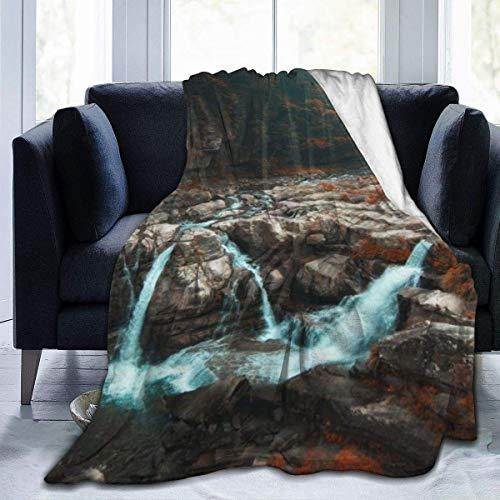 gfhfdjhf Landschaft Wasserfall Wasser Wald Überwurfdecke UltrSoft und Warm Fuzzy Micro Fleece Decke Die ganze Saison Leichtes Wohnzimmer Schlafzimmer Warm 80