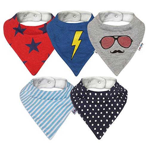 Lovjoy Baberos del bebé - Paquete de 5 Diseños para niño (Pequeño heroe)