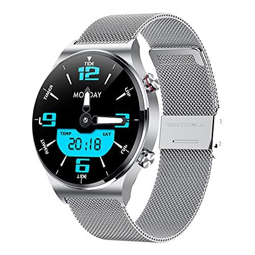 QFSLR Smartwatch Reloj Inteligente con Llamada Bluetooth Monitor De Frecuencia Cardíaca Monitor De Presión Arterial Monitoreo De Oxígeno En Sangre Podómetro,Plata