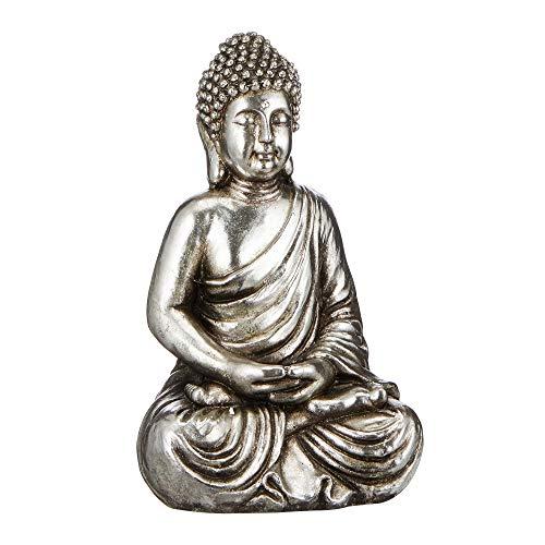 Cepewa Antik Buddha sitzend Figur Statue Skulptur Feng Shui Glücksbringer Buddhismus Gartendeko
