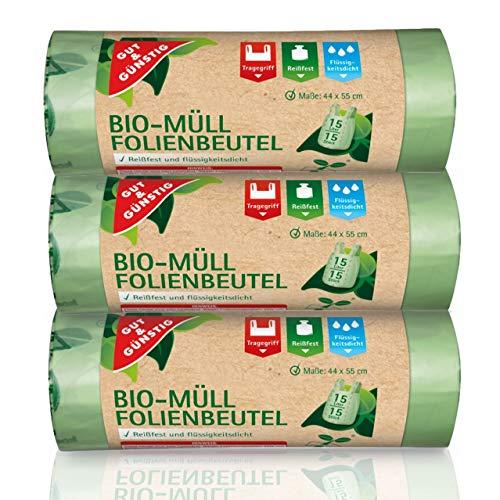 Bolsas de basura orgánicas de 15 litros (45 unidades) – Material de la más alta calidad y tacto – Pack de 3 (3 x 15 unidades) 100{bda1bc261d14afd4b7c7efe45c7b1875faea023ebb6a5c94092175e9bdb89881} compostables