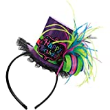 Amscan Chic Bright and Trendy Birthday Party Top Hat Fashion Headband Accessory, Paper, 8' x 7', Multicolor