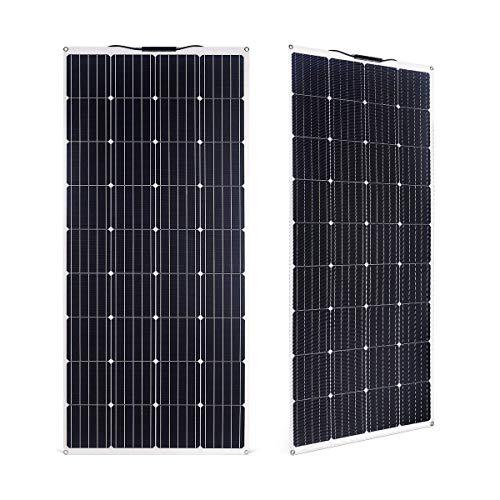 SARONIC 160W ETFE Solarmodul Solarpanel Monokristallin Solarzelle Photovoltaik Solarladegerät Solaranlage Flexibel mit MC4 Ladekabel für Outdoor Wohnmobil, Auto, Boot 12V Batterien (Weiß)