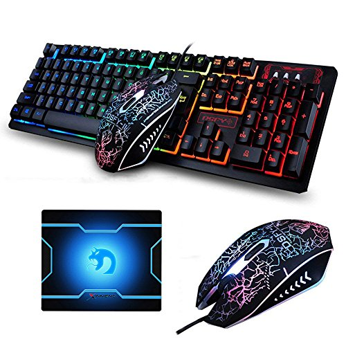FELiCON Gaming Keyboard Mouse Combo K13 Wired Rainbow Led Backlit 104 Keys Ergonomic Gamer Keyboard + 2400DPI Adjust 4 Buttons USB Optical Game Mouse Sets Mousepad for PC Laptop PS4 Xbox (K13 Set)