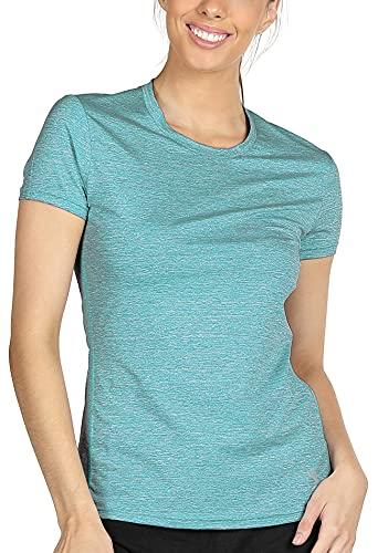 icyZone® Damen Melange T-Shirt outdoor Sport aktiv Base Layer Sonnenschutz Kompression Funktionsshirt(Green Heather, L)