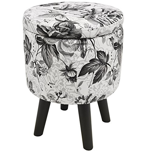 WATSONS BLACK ROSE - Contemporary Round Padded Storage Stool - Black/White