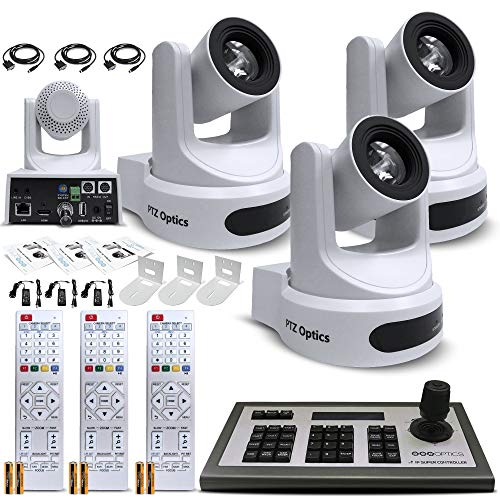 3 x PTZOptics 20x-SDI Gen2 Live Streaming Camera (White) (PT20X-SDI-WH-G2) + 3 x Universal Wall Mount Bracket (White) - Triple Camera and Mount Bundle