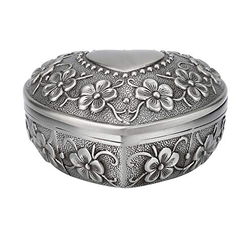 Forma de corazón de metal antiguo tallado flor estilo joyero mujeres Caja de regalo de joyería abalorio collar pendientes anillo de caja de almacenamiento