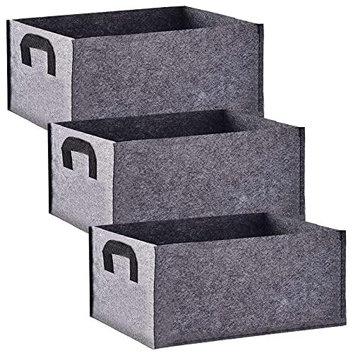Bolsas de Cultivo,Paquete de 3 rectangulares Bolsas de Cultivo no Tejidas Negras con asa,Bolsas de...