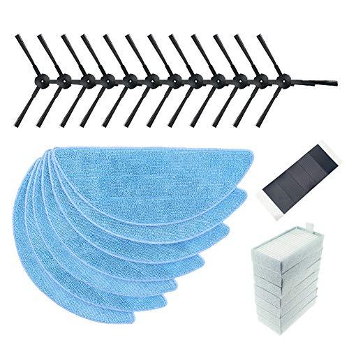 FHzytg 31 Stück Ersatzteile Zubehör für iLife V3 V3S V5 V5S V5S Pro, Wischtücher Seitenbürste HEPA Filter Set -12 Seitenbürsten + 7 Sponge + 7 Filtertücher + 5 Klettverschlüsse