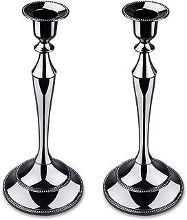 Metal Taper Candle Holder,Set of 2,Black
