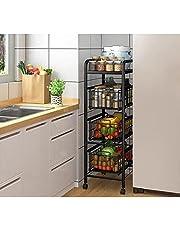Wózki do przechowywania półka kuchenna z kółkami, 4 warstwy szuflada kuchenna wózek przesuwny wózek na owoce warzywa do kuchni wózek do serwowania, przechowywanie mebli biurowych, szerokość / 30 cm