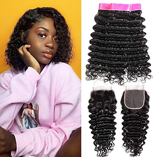 EMOL Hair 9A Brasilianisches Menschliches Haar Virgin Human Hair Curly Weave Brazilian Deep Wave Bundles with Closure Curly Brazilian Hair 3 Bundles with Closure 10 12 14+10 Zoll