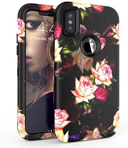 iPhone X case,ADCOOG[Flowers] Three Layers Heavy Duty Shockproof Soft Silicone Anti-Scratch Anti-Fingerprint Hard PC Hybrid Protective Case for iPhone X(Black+Peony)