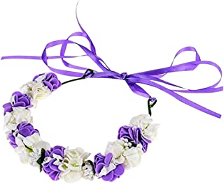 Weixinbuy Girls Floral Flower Wreath Headband Boho Wedding Festivals Photo Props Hair Accessories for Girl