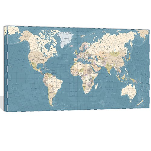 """Visual Art Decor XLarge Blue Vintage World Map Canvas Prints Push Pin Travel Routes Atlas Framed and Stretched Map Wall Art Decor for Travel Pin Marks Map Office Room Wall Decor (28""""x48"""")"""