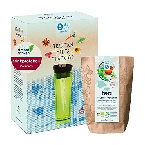 Shuyao #mehrtrinken Starter Box Tee to go & Trinkprotokoll , 1x Teamaker (grün), 10x1 Probiertüte (30g), 1x Trinkprotokoll, 1x Haftzettel (45stk)