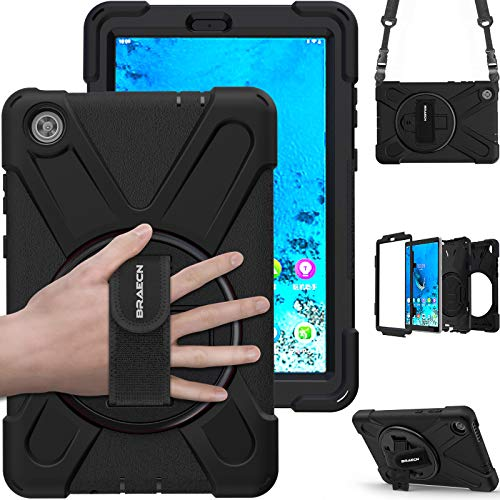 BRAECN Lenovo Tab M8 Case, Sturdy And Durable Shockproof Protective Cover, With 360-Degree Rotating Bracket Hand Strap/Shoulder Strap,Lenovo Tab M8 8.0-inch 2019 Tablet TB-8505F TB-8505X-Black