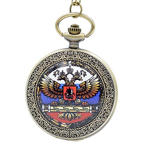 Reloj de bolsillo analógico de cuarzo con doble cabeza de águila con emblema nacional de doble cabeza para hombres y mujeres, cadena de regalo