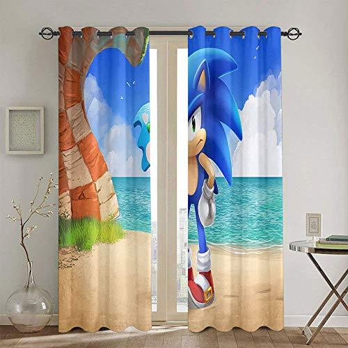 Cortinas térmicas con forro para ventana Sonic the Erizo Cortinas opacas para fiestas de 213 x 213 cm