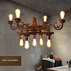 KAD Decorative Chandelier-Wandun Pendant Lamp Steampunk Rustic Chandeliers Vintage Industrial Metal Pendant Light Ceiling Hanging Lamp Lampshade f #2