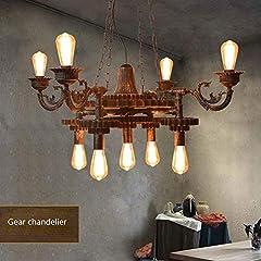 KAD Decorative Chandelier-Wandun Pendant Lamp Steampunk Rustic Chandeliers Vintage Industrial Metal Pendant Light Ceiling Hanging Lamp Lampshade f #2