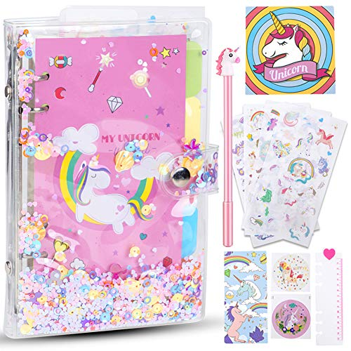 YANGTE Unicorn Notebook Set, Secret Diary for Girls with Unicorn Sticker, Card, Ruler, 5 Color Subject Paper, Christmas Birthday Toy for Girls Age 4 5 6 7 8 9 10 11 Years Old
