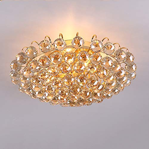 Hdmy 30 CM Durchmesser Luxus kristall wohnzimmer lampe mode Kristall deckenleuchte K9 kristall lampe schlafzimmer lampe Moderne Deckenleuchte (Color : Gold-Dia-40cm)