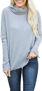 Inlefen レディース秋ファッションニットロングスリーブパイルカラーカジュアルスリムな弾性ルーズブラウストップシャツプルオーバーチュニックスウェットシャツ
