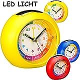 alles-meine.de GmbH Kinderwecker / Lernuhr - Analog - LED Licht -  bunter Farbmix - für Jungen  - Lernwecker - + -1 Minuten Schritten Anzeiger - Lichtwecker - Lernzifferblatt -..