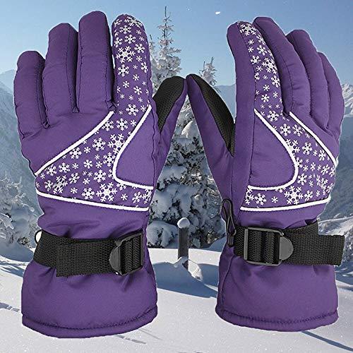 U/D Ylanmg Männer Frauen -30 ℃ Winter-Warmer Ski-Handschuhe Wasserdicht Snowboard Head Sports Handschuhe Unisex Schnee Handschuhe (Color : Lila, Size : 1)