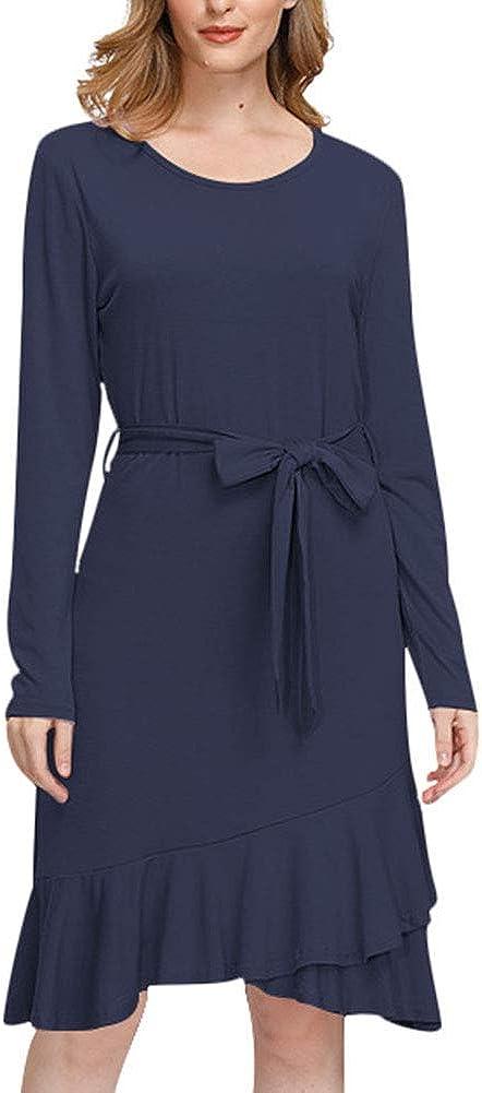 Uni Clau Womens Casual Work Dresses Solid Color Long Sleeve Flowy Ruffle Fashion Midi Dress with Belt