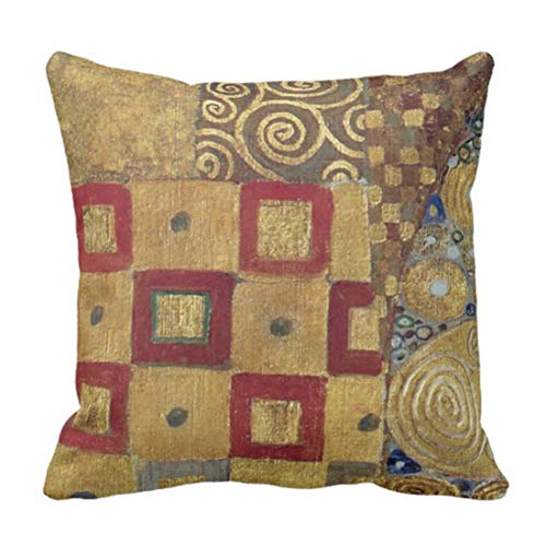 lucies Throw Pillow Cover Anniversary Nouveau Klimt Gold Red Old Spirals Decorative Pillow Case Home Decor Square 18'' X 18'' Pillowcase