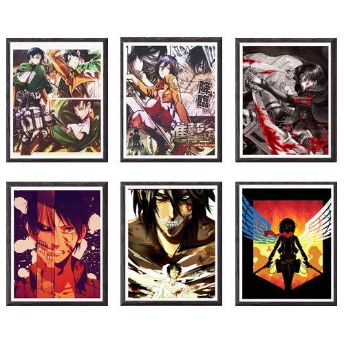 Attack on Titan Shingeki no Kyojin Levi Mikasa Eren Manga Anime Art Print,8 x 10 pulgadas, juego de...