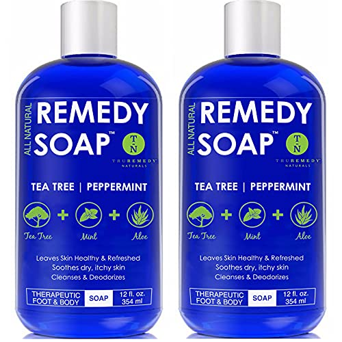 Remedy Soap Pack of 2, Helps Wash Away Body Odor, Soothe Athlete's Foot, Ringworm, Jock Itch, Yeast Infections and Skin Irritations. 100% Natural with Tea Tree Oil, Mint & Aloe 12 oz